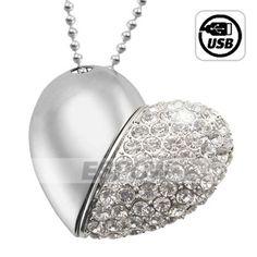 8G USB Flash Memory Jeweled Necklace