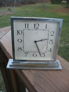 vintage chrome Kienzle art deco shelf mantle clock Germany 1930s nice