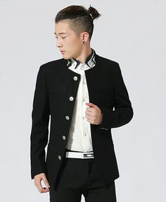 $81.83 --Men Casual Jackets Chinese Tunic Suit Korean Style Jackets Pure Color Stand Collar Long Sleeve Casual Black Jackets M-XXL Discount Online Shopping