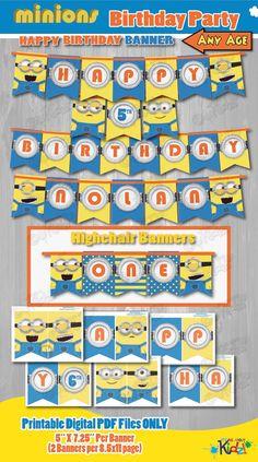 Minion Birthday Banner-Minion Banner-DIY by ItsAllAboutKidz