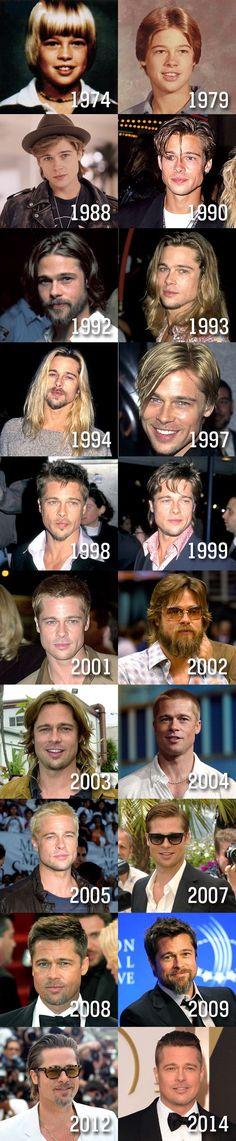A evolução do astro Brad Pitt. (Foto: Divulgação)