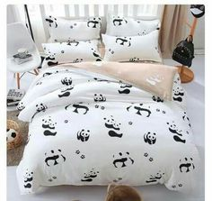 Black and white bedding set Panda bed sheet/bedspread/Duvet cover set Twin Full Queen King size for single double bed White Bedding, Bedding Sets, Bedroom Themes, Bedroom Decor, Panda Decorations, Blue Ceilings, My New Room, Home Staging, Interior Design