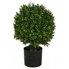 20 inch Tall Artificial Boxwood Bush Ball Tree in Pot Outdoor Plant Arrangement