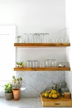 marble, wooden floating shelves