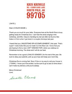 Letter From Santa Free Template Click the link above to download our free template for a letter from Santa Claus. This download is a Microsoft Word file so you can edit and personalize it. Go here for instructions on how to get a real North Pole postmark on your letter.