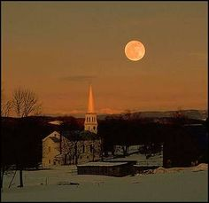 Full Moon in Vermont Winter Photo