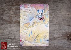 Alolan Ninetales / renard esprit Yokai Foxfire japonais Style / carte postale brillant 4 x 6 coins arrondis