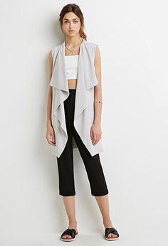 Longline Draped Collar Vest | Forever 21 - 2000053661