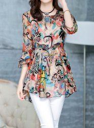Fashionable Scoop Neck Lotus Leaf Sleeve Full Print Women's Chiffon T-Shirt