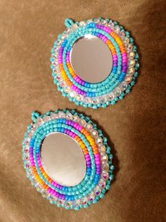 Native American Beaded Earrings: oval mirror set