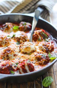 Cheesy Meatball Skillet Recipe  INGREDIENTS 1 jar (24 oz.) marinara sauce 1 cup mozzarella...
