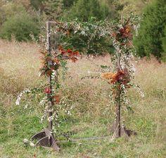 cedarwood rustic arbor, fall wedding