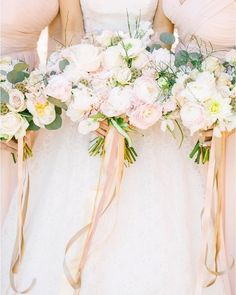 We totally adore these beautiful blush ribbons adorning pretty summer #bouquets found on @southerncaliforniabride! Photographer: @brittaneetphoto   Venue: @serendipity_weddings   Florals: @flowersbymaemae   Bridal Boutique: @TheDresserBridal by aislesociety