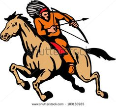 Illustration of American Indian riding a horse shooting arrow with bow on isolated white background. - stock vector #indian #cartoon #illustration