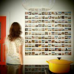 Wedding guest polaroids displayed on canvas