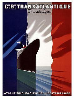 Travel Poster France Cruise Ship Art Print Vintage by Blivingstons