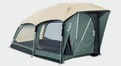 This is a camping tent for use with clients with disabilities.  The tent features accommodations for up to two wheelchairs, large  pull handles on the zippers, and can be set up from one side while in a seated position in a wheelchair.
