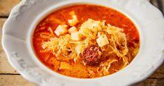 Kolbászos savanyúkáposzta-leves recept | Street Kitchen Soup And Sandwich, Thai Red Curry, Sandwiches, Ethnic Recipes, Soups, Food, Eten, Soup, Paninis