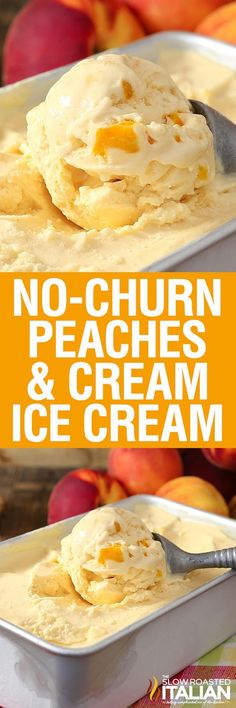 Peaches & Cream Ice Cream is rich, thick and amazingly delicious. And it does NOT use sweetened condensed milk.No-Churn Peaches & Cream Ice Cream is rich, thick and amazingly delicious. And it does NOT use sweetened condensed milk. Ice Cream Treats, Ice Cream Desserts, Köstliche Desserts, Frozen Desserts, Ice Cream Recipes, Dessert Recipes, Frozen Treats, Peach Ice Cream Recipe, Jello Recipes