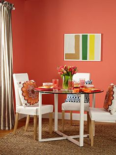 "Other pinner: ""Coral is upbeat and vibrant. If you plan to use it on walls, make sure the room gets plenty of natural light. this could be pretty in a sun room :) Coral Walls, Beige Walls, Coral Kitchen, Kitchen Decor, Feng Shui Apartment, Coral Home Decor, Dining Room, Dining Table, White Paneling"