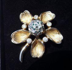 NETTIE ROSENSTEIN Trembler Flower Brooch by KatsCache on Etsy, $299.95