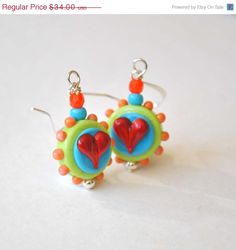 SPRING SALE Heart Earrings Colorful Earrings Lampwork by bstrung