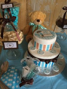 Sweet table! Cake center piece. Blue White and Brown candy buffet by Candied