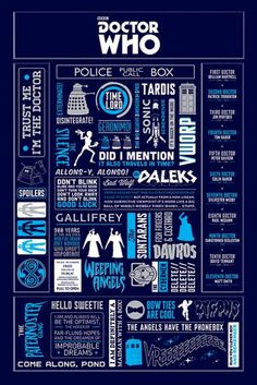 Doctor Who - Infographic - Official Poster. Official Merchandise. Size: 61cm x 91.5cm. FREE SHIPPING More