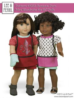 """We love the combined Paris and baking themes of American Girl® GOTY® Grace Thomas®. We made these outfits for Grace and her friends using our new FREE PATTERN for mailing list subscribers — #1033 Bonjour, Paris Mini Wardrobe for 18"""" Dolls. Sign up to get your own at www.leeandpearl.com. And get the Bonjour, Paris Fabric and Trim Kit — perfectly matched to Grace's collection — in our Etsy store at https://www.etsy.com/listing/220505530/bonjour-paris-fabric-trim-kit-for-18"""