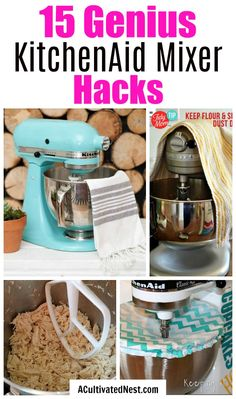 15 KitchenAid Mixer Hacks and Tips- Did you know that your stand mixer can shred chicken, mix up DIY play dough, and so much more? Take advantage of all your mixer can do with these 15 KitchenAid mixer hacks and tips! Kitchen Aid Recipes, Kitchen Hacks, Kitchen Gadgets, Kitchen Tools, Cooking Gadgets, Kitchen Rules, Basic Kitchen, Cooking Hacks, Kitchen Things