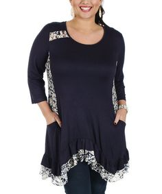 Another great find on #zulily! Blue & White Floral Ruffle Tunic - Plus #zulilyfinds