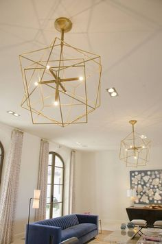 Geometric and modern gold design. Perfect combined with blue accents. Custom Lighting, Modern Lighting, Lighting Design, Gas And Electric, Blue Accents, Chandelier, Indoor, Ceiling Lights, Contemporary