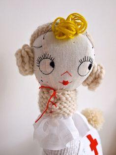 Soft sculpture ooak art doll cloth Nurse by JessQuinnSmallArt