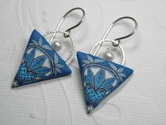 Heart Weave Millefiori Polymer Clay Earrings with Freshwater Pearls. $36.00, via Etsy.
