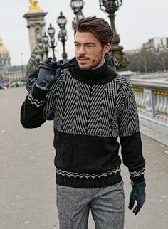 Ravelry: 695 - Jacquard Sweater pattern by Bergère de France Mens Fashion Sweaters, Knitwear Fashion, Knit Fashion, Sweater Fashion, Men's Knitwear, Mode Masculine, Sweater Jacket, Men Sweater, Pull Jacquard