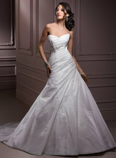 Simple White Taffeta Wedding Gown with Beading