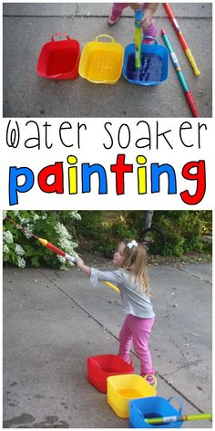 Outdoor process art for toddlers at its finest: Water Soaker Painting! Practice mixing colors and spraying color using Dollar Tree water soakers!