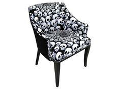 interior design, home decor, furniture, seating, chairs, skulls, skeletons, black and white, black, white, patterns