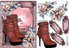 Dusky Pink Sunset with Boots and Flowers  on Craftsuprint designed by Ceredwyn Macrae - A lovely card with Dusky Pink Sunset, Boots and Flowers to make and give to anyone ,has three greeting tags and a blank one ,  - Now available for download!