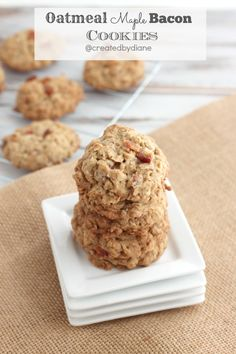 Oatmeal Maple Bacon Cookies. Good solid recipe, which I amped up slightly by finishing with bacon maple icing.