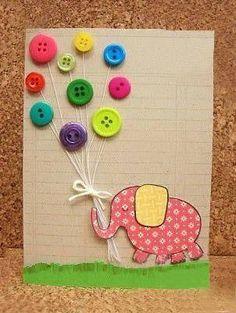 Barnligt kort med knapper