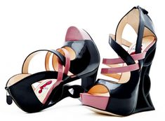 Beautiful, graphic, art deco inspired wedges and heels.
