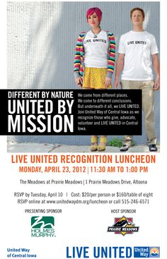 Please join us for our 2012 LIVE UNITED Recognition Event  Monday, April 23, 2012 from 11:30 AM to 1:00 PM.