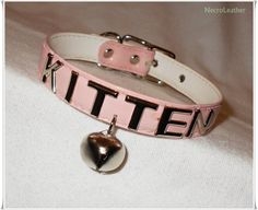 Pink Customizable Kitten Bell Collar - Vegan Kawaii Submissive Collar