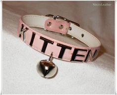 Pink Customizable Kitten Bell Collar - Vegan Pink PVC Kawaii Collar