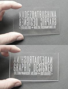 Clever Double Sided Transparent Plastic Laser Cut Business Card For A Graphic Designer