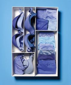 Cut shoe boxes in half, along the length or width, and fill the resulting compartments with folded underwear, socks, or stacked bras.