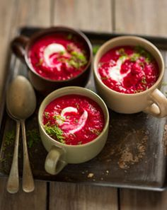 Beetroot and Carrot Soup - Pleasing on the eye and taste buds. Perfect for those cold winter evenings # Comfort Food Healthy Everyday Meals, South African Recipes, Ethnic Recipes, Carrot Soup, Greek Yoghurt, Beetroot, Easy Healthy Recipes, Healthy Lifestyle, Favorite Recipes