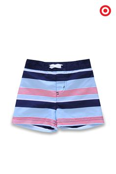 Choose striped blue swim trunks for your baby boy's first trip to the beach, and he'll be cooing and gurgling his approval when you hold him for a dip in his first wave. These easy-care board shorts by Circo have a full elastic waistband for quick changes.