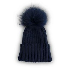 The perfect accessory. An adorable navy beanie hat adorned with the softest detachable fur bobble gives the wearer two hats in one! A full ribbed knitted design with adjustable turn up is ideal for colder weather.